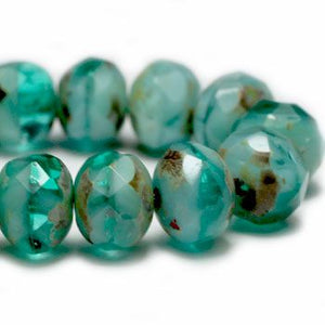 Aqua Shimmer Czech Beads, 6x4mm - Specialty Beads