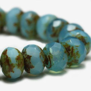 Blue Aqua Opal Czech Beads, 6x4mm - Specialty Beads