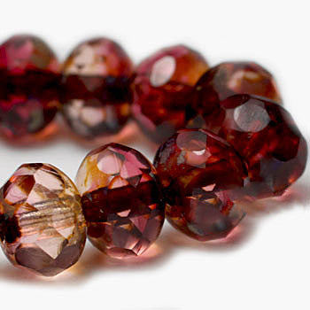 Fuchsia Czech Beads, 6x4mm