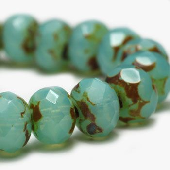 Green Aqua Opal Czech Beads, 6x4mm