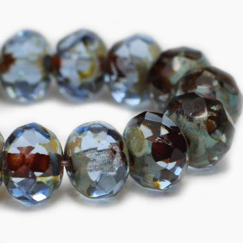 Light Sapphire Czech Beads, 6x4mm