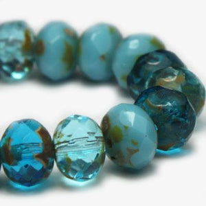 Mixed Blue Czech Beads, 6x4mm - Specialty Beads
