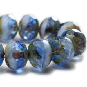 Sapphire Sky Czech Beads, 6x4mm - Specialty Beads