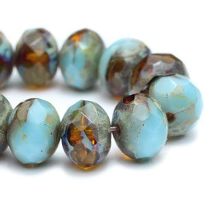 Turquoise Amber Czech Beads, 6x4mm - Specialty Beads