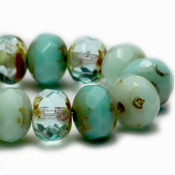 Turquoise and Aquamarine Czech Beads, 6x4mm