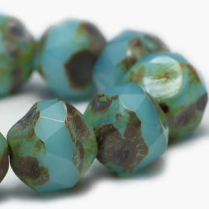 Aqua Opalite Central Cut Czech Beads - Specialty Beads