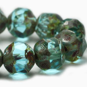 Aqua Central Cut Czech Beads - Specialty Beads