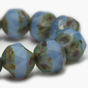Light Cornflower Central Cut Czech Beads - Specialty Beads