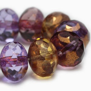 Amethyst Amber Czech Beads, 8x6mm - Specialty Beads