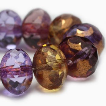 Amethyst Amber Czech Beads, 8x6mm