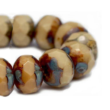 Brown and Beige Picasso Czech Beads, 8x6mm