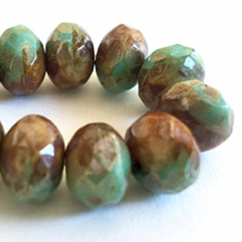 Copper Turquoise Czech Beads, 8x6mm