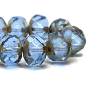 Sapphire Blue Czech Beads, 8x6mm - Specialty Beads