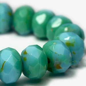 Turquoise Blue Shimmer Czech Beads, 8x6mm - Specialty Beads