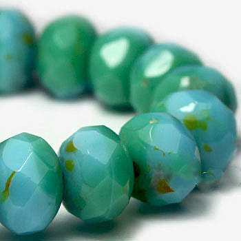 Turquoise Blue Shimmer Czech Beads, 8x6mm