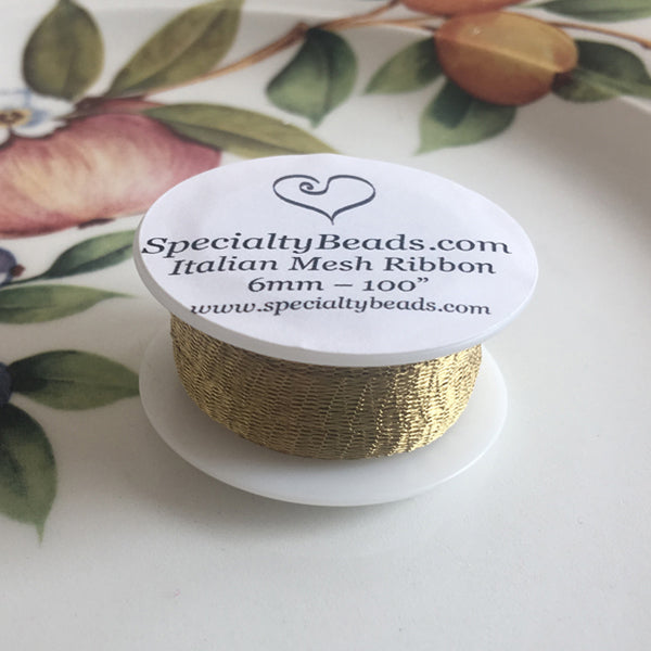 "Italian Mesh Ribbon, Antique Gold, 100"" Spool or 5 Yard Spool"