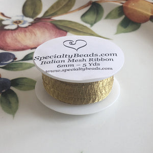 "Italian Mesh Ribbon, Antique Gold, 100"" Spool or 5 Yard Spool - Specialty Beads"