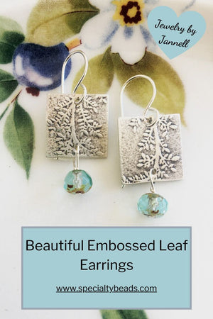 Sterling Silver Aqua Embossed Leaf Earrings - Specialty Beads