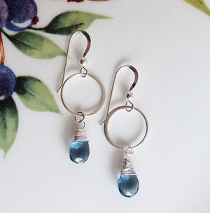 Sterling Silver Blue Quartz Earrings