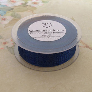 Titanium Mesh Ribbon, Blue, 1 Meter Length - Specialty Beads