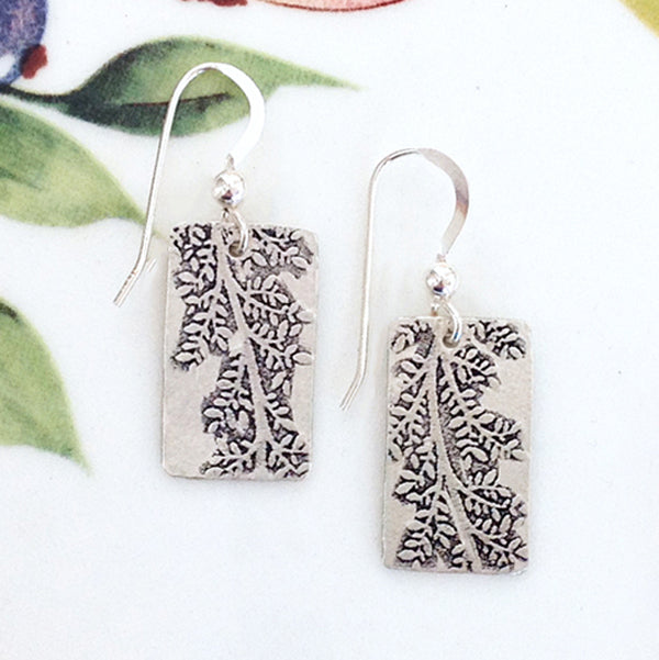 Sterling Silver Pine Branch Earrings