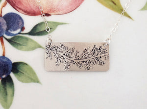 Embossed Leafy Branch Silver Necklace - Specialty Beads