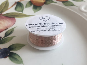 "Italian Mesh Ribbon, Champagne, 100"" Spool or 5 Yard Spool - Specialty Beads"