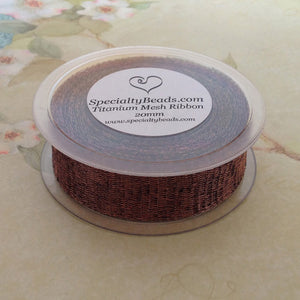 Titanium Mesh Ribbon, Chocolate Brown, 5 Meter Spools - Specialty Beads