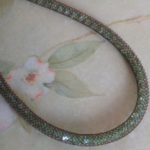 Chocolate Mint Glimmer Crystal Mesh Necklace - Specialty Beads