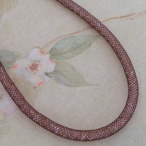 Chocolate Pink Blush Crystal Mesh Necklace