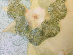 Titanium Mesh Ribbon, Frosted Light Green, 1 Meter Length - Specialty Beads