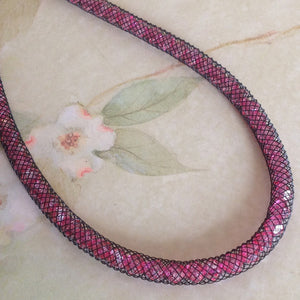 Fuschia Dazzle Crystal Mesh Necklace - Specialty Beads