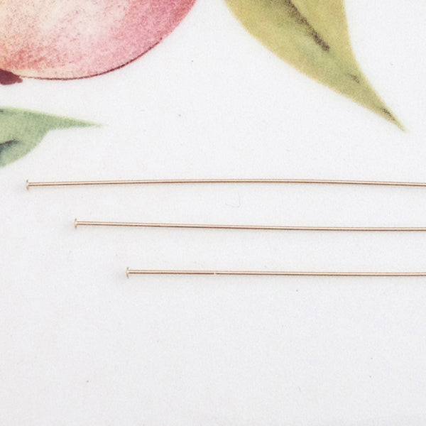 "Gold Filled 2"" Head Pins, Package of 20"