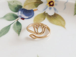 Gold Lotus Blossom Ring - Specialty Beads
