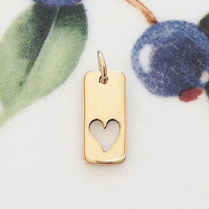 Gold Rectangle Heart Charm - Specialty Beads