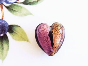 Silver and Gold Italian Heart Bead, Amethyst, 21mm