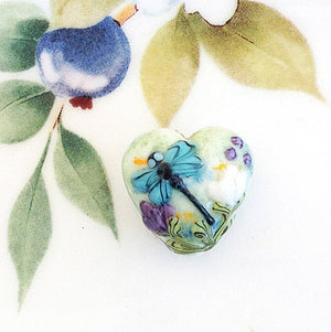 Dragonfly Lampwork Heart Bead