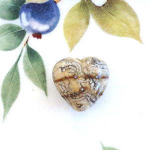 Ivory Jewel Heart Handmade Bead