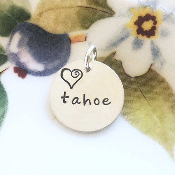 CUSTOM - YOU CHOOSE the Word or Name below the Heart in this Silver Hand Stamped Charm