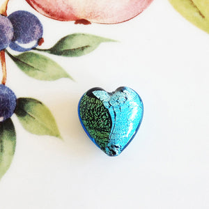 Silver and Gold Italian Heart Bead, Aquamarine, 21mm