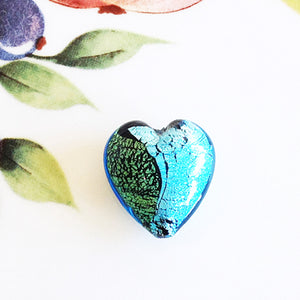 Silver and Gold Italian Heart Bead, Aquamarine, 21mm - Specialty Beads