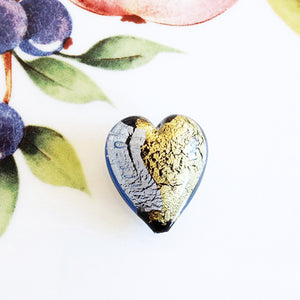 Silver and Gold Italian Heart Bead, Light Blue, 21mm