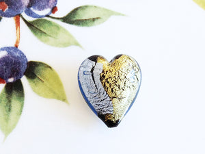 Silver and Gold Italian Heart Bead, Light Blue, 21mm - Specialty Beads