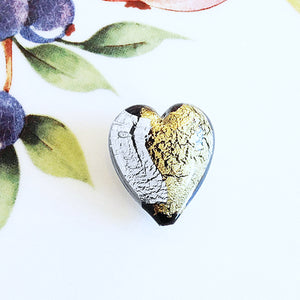 Silver and Gold Italian Heart Bead, Black, 21mm