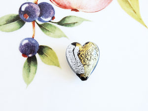 Silver and Gold Italian Heart Bead, Black, 21mm - Specialty Beads