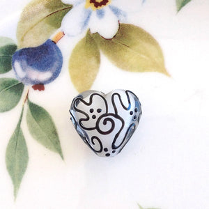 Black Lace Handmade Heart Bead - Specialty Beads