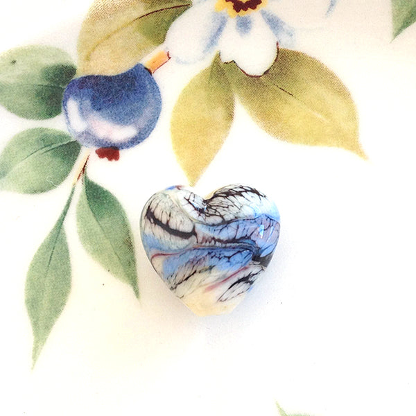 Blue Bird Feathers Handmade Lampwork Bead