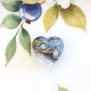 Blue Stardust Handmade Heart Bead - Specialty Beads