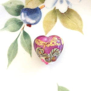 Cranberry Treasure Lampwork Heart Bead - Specialty Beads
