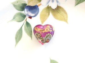 Cranberry Treasure Lampwork Heart Bead
